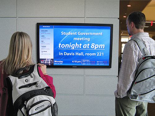 digital signage for student government meeting announcement